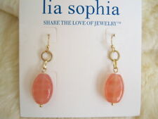 "LIA SOPHIA ""MANDALAY BAY"" - PINK RESIN DROP Matte Gold Tone EARRINGS - 2009/$25"