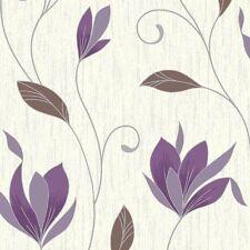 Floral Trail Metallic Glitter Sparkle. Vymura Synergy Plum Wallpaper M0778