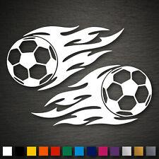 14074 2x Fussball mit Flammen Aufkleber 70x145mm Fußball WM EM Ball Sport Auto