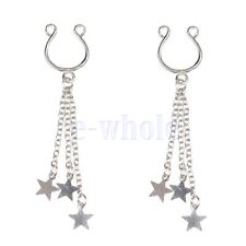 Fake Body Jewelry Tassel Star Charm Nipple Rings Non-Piercing Clip On Pair YG