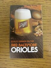 1982 Fixture Card: Baseball - Baltimore Orioles (Schlitz - fold out style). Any