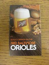 Accesorio de 1982: tarjeta de béisbol de los Orioles de Baltimore (Schlitz-desplegable en el estilo). cualquier