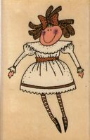 "doll thats all she stamped Wood Mounted Rubber Stamp  1 1/2 x 2 1/2""  Free Ship"