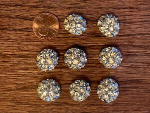 Vintage 8 Rhinestone  Metal Buttons