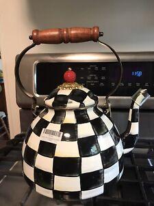MacKenzie-Childs Courtly Check Enamel Tea Kettle - 3 Quart NEW