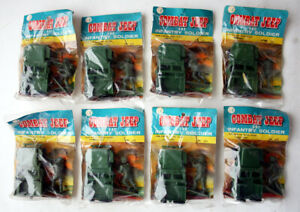 8X RARE VINTAGE 80'S COMBAT JEEP & INFANTRY SOLDIER BAGS HONG KONG NEW NOS !