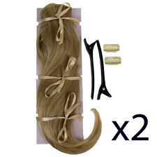"Hair Extensions Clip In 2 Piece POP Sandy Blonde Straight Volume 16"" 2x"