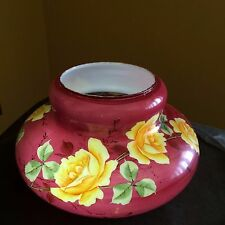 Breathtaking Antique Glass Shade Oil Kerosene Lamp Hand Painted  Floral Design