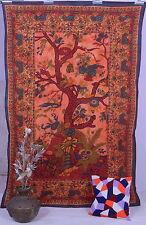 Indian Wall Hanging Bohemian Tree of Life Printed Hippie Orange Tapestry Throw