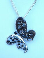 """Contemporary Silver Tone & Black Enamel Butterfly Pendant and 24"""" chain Necklace"""