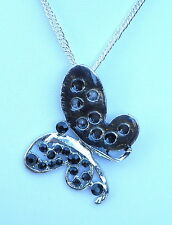 "Contemporary Silver Tone & Black Enamel Butterfly Pendant and 24"" chain Necklace"