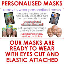 9 Personalised Party Face Masks. Pre-Cut Ready To Wear