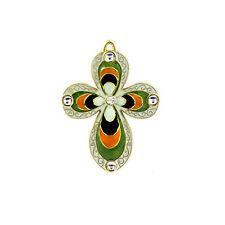 Pendentif Croix plaqué Or CROIX Pendentif Chretien email vert, noir, orange