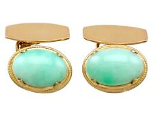Vintage 1940s Jade and 21k Yellow Gold Cufflinks