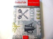"Cooking Light Harvest Olive Oil Vinyl Tablecloth 70"" Round Utensils Drainer"