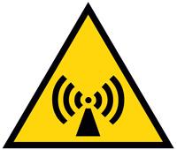 ADESIVO segnaletica PERICOLO RADIAZIONI NON IONIZZANTI 120x120 mm.