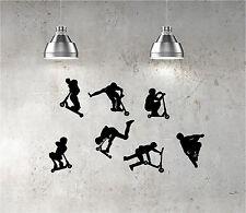 7 X Pegatinas Stunt Scooter Pared Arte Niños Dormitorio Calcomanía SCOOTERS JD BUG