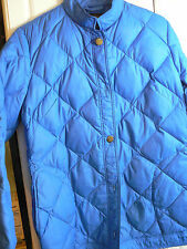 EDDIE BAUER WOMENS MED/LG  QUILTED BLUE DOWN JACKET (SEE MEASUREMENTS)-GREAT CND