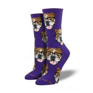 Socksmith Women's Novelty Crew Socks, SSW1358 Bulldogster - Purple