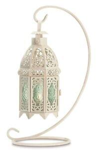 "13"" Lacy White + Green Glass Tea Light Lantern w/ Stand Romantic Farmhouse Chic"