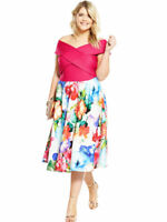 BNWT V By Very Curve Floral Print Scuba Prom Dress PINK UK 18