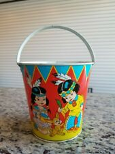 VINTAGE OHIO ART TIN LITHO SAND PAIL HORSE CALF INDIAN SQUAW BUNNY KIDS CARROT
