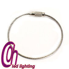 5pcs Stainless Steel Wire Keychain Key chain Key Ring With Screw Closure