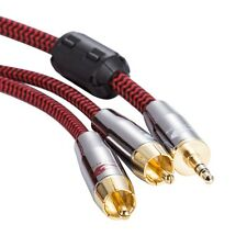 "1/8"" Mini Jack 3.5mm to 2 RCA Audiophile PC Phone Amp Speaker Audio Cable  1M"