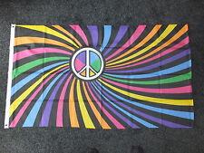 RAINBOW CND/PEACE SWIRL Flag Party Festival Hippy CND Anti-Nuclear/War 5x3 bnip