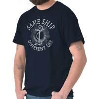 Same Ship Sarcastic Nauti Anchor Beach Party Womens or Mens Crewneck T Shirt Tee
