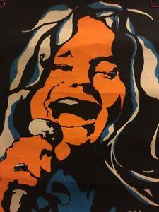 Janis Joplin Pearl Vintage Blacklight Poster 1970's Psychedelic Pin-up Original
