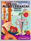 1938 S.S. CHAMPLAIN FRENCH LINE MEDITERRANEAN CRUISE BROCHURE/DECK PLANS