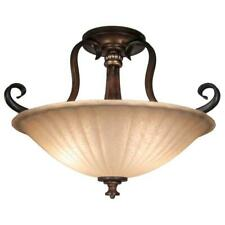 Reims 17 in. 2-Light Antique Bronze Semi-Flush Mount w/Tea Stained Glass Shade