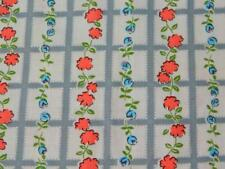 """2.5 Yards 36"""" wide Vintage 100% COTTON FABRIC Pink Blue Gray White Floral Fence"""