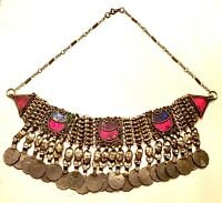 Vintage Pakistan Ethnic Tribal Gypsy Coin Necklace Poured Glass Coins Pakistani