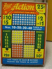 Vintage Punch Board Fast Action .25 Per Hole Gambling Device #6894 Box#Pb-15