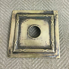 Antique 19th C Single Brass Button Light Switch Plate Ornate Ribbon Reed Salvage