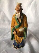 "Stunning Chinese Mudman 6 1/2"" Figurine Glaze, Pottery, Statue, Antique, Vintage"