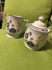 Georges Briard Bretonne Creamer & Sugar Bowl w/ Lid Set