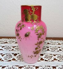 GORGEOUS ANTIQUE WEBB PEACH BLOW & GOLD ENAMEL WITH FLOWERS AND INSECTS VASE 6""