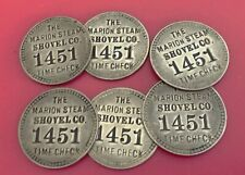 6 Antique Time Check Brass Tags: Marion Steam Shovel; Matched Set (Tool Check)