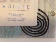 VOLUTE SPLASH PEVA BATH SHOWER CURTAIN SWIRL CIRCLES SHADES OF BLUE ROLLER HOOKS