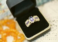 Vintage Jewellery Gold Ring Amethyst White Sapphires Antique Jewelry Size 9 R