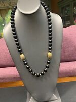 Vintage Classic Necklace Black Lucite Beaded Gold Tone Accented necklace 24""
