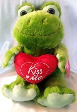 Frog Plush Stuffed Animal Green with Red Heart Kiss Me Valentine Dan Dee 18""