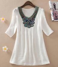 New Lagenlook Loose Semi Sheer Shirt Beads Tops Ladies Casual Top T-Shirt Blouse