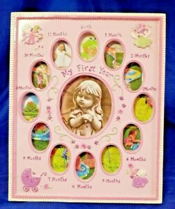 Pink My First Year Monthly Girls Picture Frame Rectangle 12.5 X 10