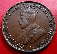 1921  Australia Penny George V  6 pearls Nice Toning,  Circulated Nice Details.