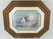 """Vintage Country Church Wood Framed 14.5"""" x 17.5"""" Picture Print Traditional"""