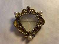 RENE LALIQUE FROSTED CRYSTAL GLASS FIORET PENDANT PIN BROCHE PARIS FRANCE